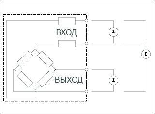 Схема проверки тензодатчика на целостность моста