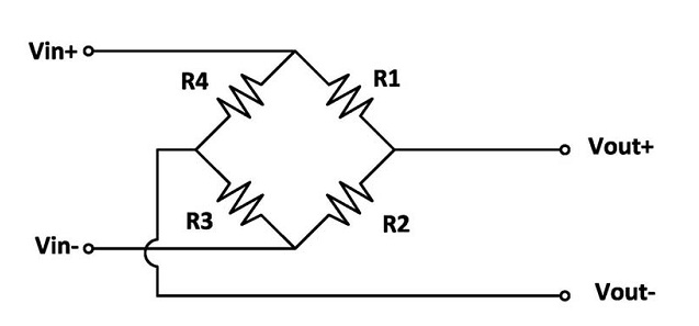 электрическая схема тензодатчика, мост Уитстона